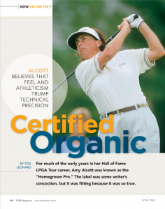 Amy Alcott - Certified Organic - From FORE Magazine, July 2011